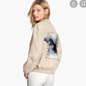 H&M Aviator Style Bomber Jacket Embroidered Eagle